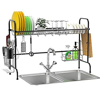 Over The Sink Dish Rack Ace Teah Large Dish Drying Rack with Utensil Holder Hooks Black