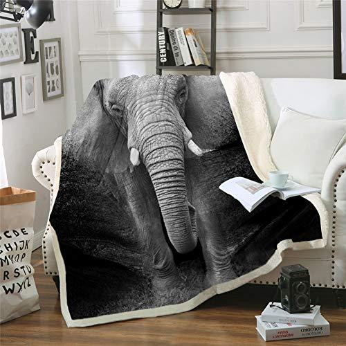 MegOK Elefant Sherpa Decke 3D Gedruckt Tier Tagesdecke Fotografie Schwarz & Weiß Plüschdecke, 150 cm x 200 cm