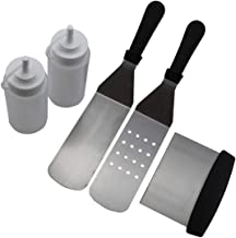 Cooking Utensils 5Pcs Stainless Steel Griddle Cooking Tools Kit for Grill Salad Scraper Chopper Pizza BBQ Baking Kitchen T...