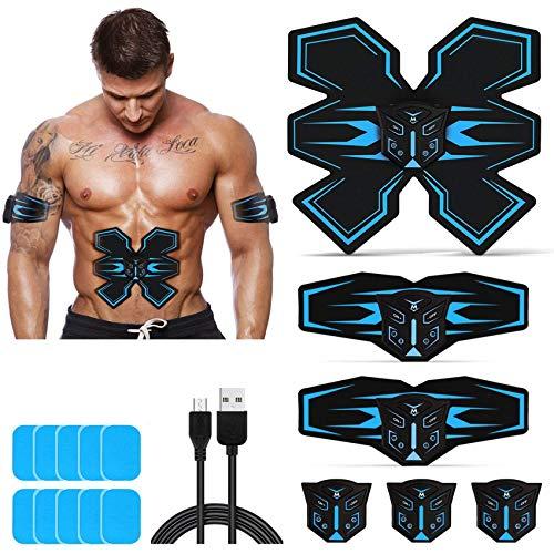 Tenswall EMS Trainingsgerät Muskelstimulation, EMS Bauchmuskeltrainer mit 6 Modi 9 Intensitäten, USB Wiederaufladbarer Muskeltrainer Elektrisch