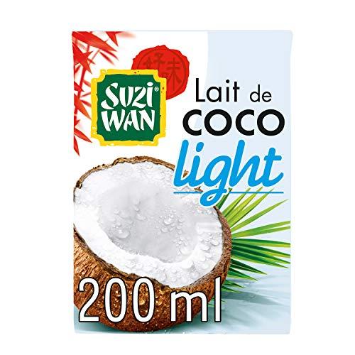 SUZI WAN Lait de Coco Light (Allégé) 200 mL - Pack de 12 unités