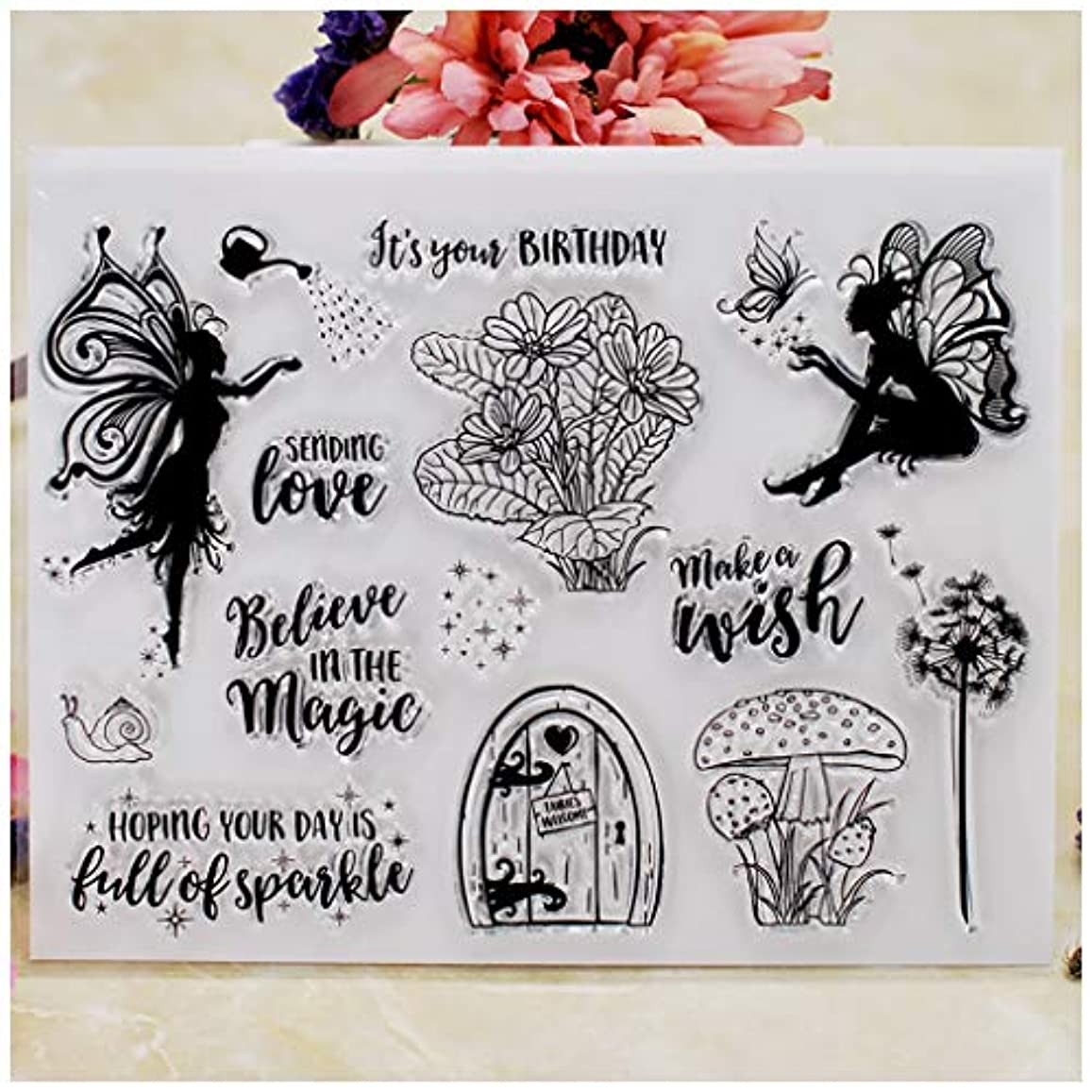 Kwan Crafts Make a Wish Sending Love Birthday Butterfly Clear Stamps for Card Making Decoration and DIY Scrapbooking