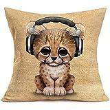 Mesllings Funda de cojín estándar para sofá de granja de 50 x 50 cm con diseño de gato y bebé con auriculares