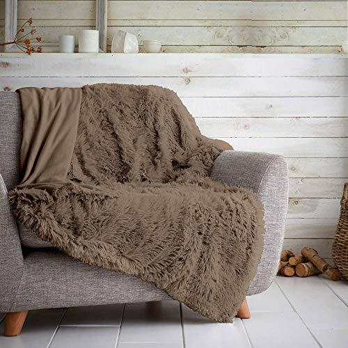 GAVENO CAVAILIA Kuschelige Tagesdecke mit Teddy-Motiv, Fleece-Teppich, Sofa-Decken, Umarmung & Kuscheln, Nerz, Doppelbett (150 x 200 cm)