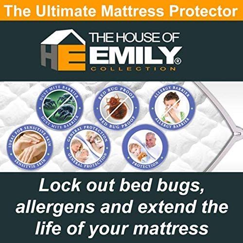 The House of Emily Fully Enclosed Encased Waterproof Mattress Encasement Protector Cover 12' Deep Zip Closure Double