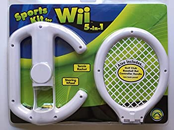 Nintendo Wii 5-in-1 Sports Kit with Steering Wheel Tennis Racket Golf Club Baseball Bat & Controller Handle