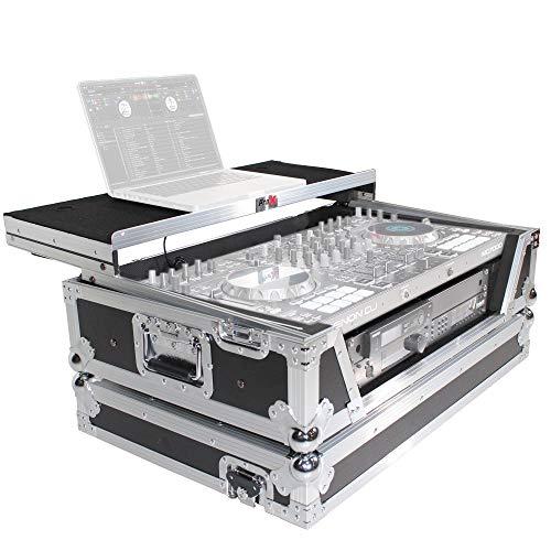 ProX Flight Case for Pioneer DDJSX3 DDJ-1000 SRT Controller with 2U Rack Space, Sliding Laptop Shelf,Wheels and LED Kit-Silver on Black Design - XS-SX1K2UWLTLED