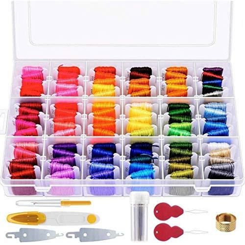 146 piezas de hilo de bordar con caja de organización que incluye 108 colores de hilo de punto de cruz Pulsera de la amistad y 38 piezas Kit de herramientas de punto de cruz para hacer la pulsera de la amistad
