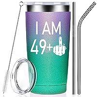 49 + 中指 50歳の誕生日プレゼント 女性男性に 妻 母親 同僚 親友 パーティー 記念日のデコレーション用品 ワインタンブラーカップ 蓋とストロー付き
