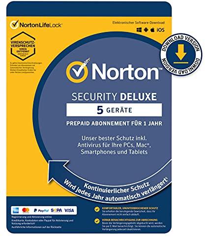Norton Security Deluxe 5 Geräte / 1 Jahr - 2021 / 2022 - DOWNLOAD - Inklusive Antiviren Software - für Windows, Mac, Android, iOS