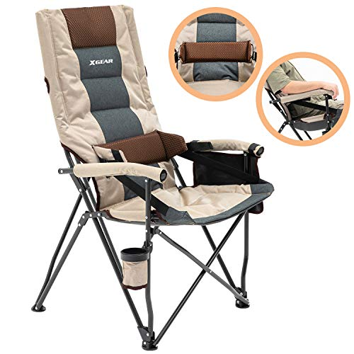 XGEAR Folding Camp Chair Portable Camping Chair Oversized Steel Frame Collapsible with Lumbar Support