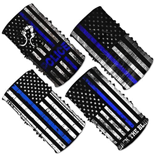 4Pcs USA Thin Blue Line Police Flag Headwear Neck Gaiter Tube Scarf Headbands Bandana Balaclava For Outdoor