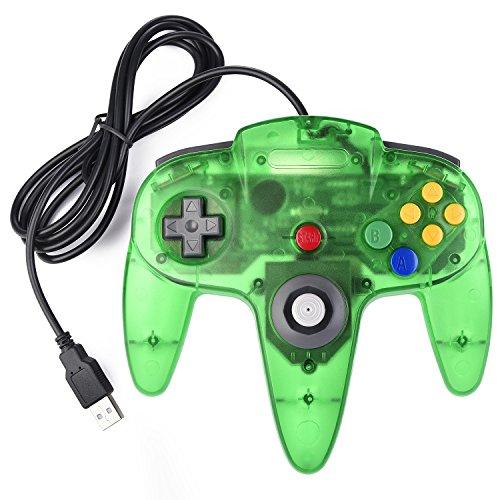 iNNEXT Retro 64 N64 USB Controller Joystick Gamepad für Windows Mac PC Raspberry pi3 (Clear Green)