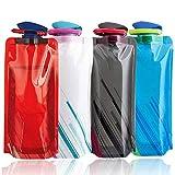 Bottiglia di Acqua Pieghevole Set, NALCY Bottiglia d'Acqua Pieghevole, Bottiglia d'Acqua Pieghevole per Corsa Arrampicata Campeggio e Trekking 700ML-4PCS