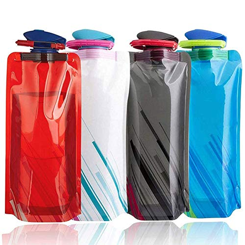 Bolsa de Agua Reutilizable Plegable , NALCY Botella de Agua Plegable para Deportes al Aire Libre Ciclismo Senderismo Deportes Senderismo Escalada mochilero 700ML-4PCS