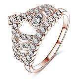 Anyeda Rose Vergoldet Ring Ring Jungs Krone Ring Rose Gold Edelstahlring 68 Ringgröße 54 (17.2)