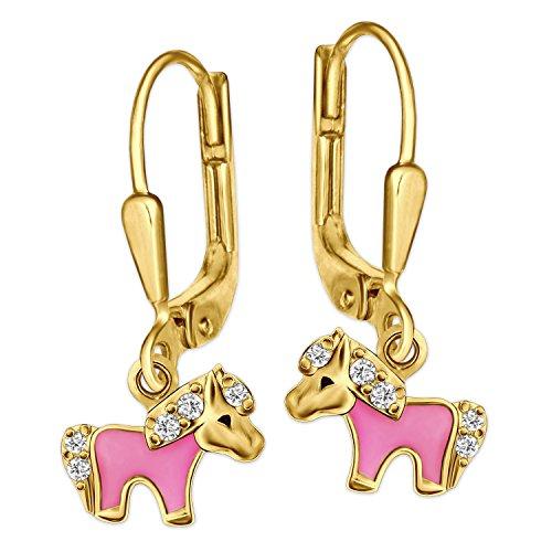 Clever Schmuck Dorati Orecchini di My Little Pony, Parte Rosa Laccato con Molti zirconi in Argento 925 Oro-placcati