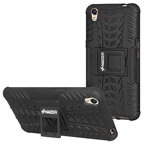 AMZER Hybrid Warrior Dual Layer Slim Protective Shockproof Case Skin for Oppo A37 - Black