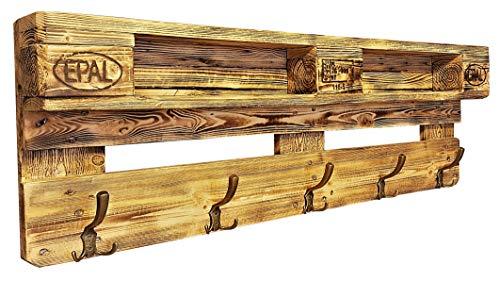 daves redesign Garderobe Holz Vintage aus Europalette mit Aufhängung incl. 5 Kleiderhaken Wandregal Ablage Vintage Jackenständer Palettenmöbel Palettengarderobe