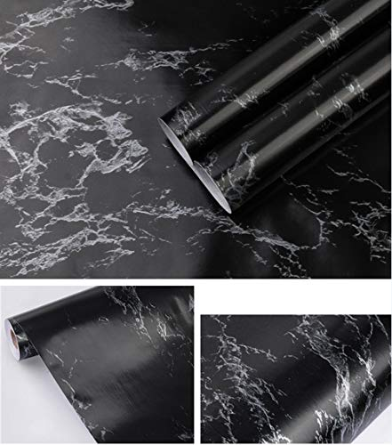 17.71In X 118In Black Marble Wallpaper Contact Paper Peel and Stick Wallpaper for Kitchen Countertop Cabinet Furniture Self Adhesive Wallpaper Vinyl Waterproof Removable Easy to Use
