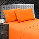 Elegant Comfort 1500 Thread Count Luxury Egyptian Quality Softness Wrinkle and Fade Resistant 4-Piece Bed Sheet Set, Deep Pocket up to 16inch, King, Elite Orange