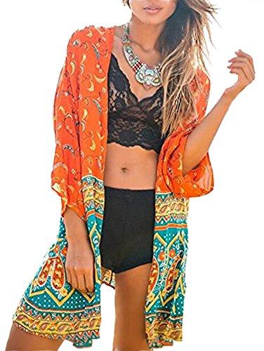 Minetom Mujer Verano Estampado Boho Floral Mantón Suelto Kimono Del Chal Cárdigan Cubra La Blusa de La Camisa Tops Cover Up Naranja ES 46