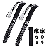 TOMSHOO Trekking Pole Adjustable, Collapsible Forth-Fold, Lightweight, Anti-shock Quick Lock, Aluminum 7075 44-53in