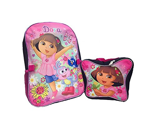 Nickelodeon Junior 16' Dora The Explorer & Boots Backpack with Butterfly Lunch Box