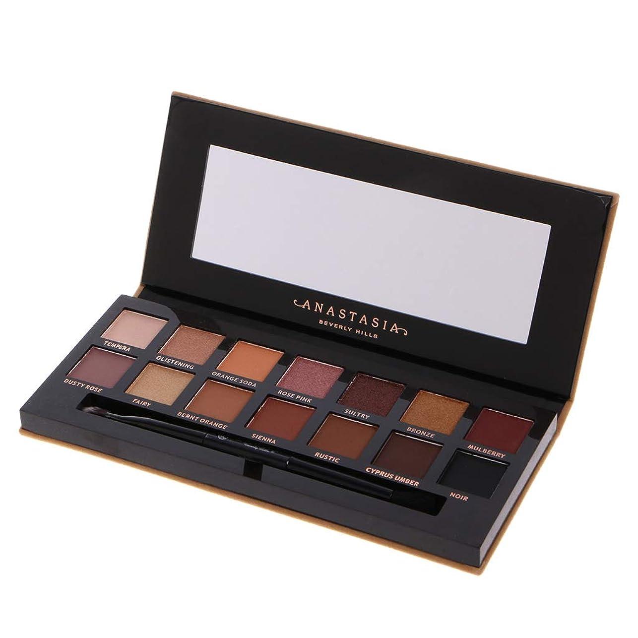 一貫した名門時制Lamdoo 1ボックス14色アイシャドウ化粧アイシャドウパレットマットハイライト光沢のあるミラーブラシでプロフェッショナルシマーパーティースモーキーヌード化粧品
