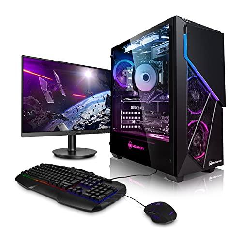 """Megaport Gaming Komplett PC Intel Core i7 10700F 8X 2.90-4.80GHz • Nvidia GeForce RTX 3070 8GB • 27\"""" Full HD Monitor • 500GB M.2 SSD • 16GB DDR4 3200 • 2TB HDD • Windows 10 • WLAN"""