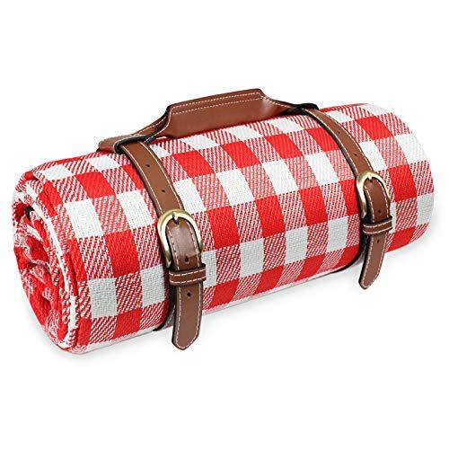 BRIAN & DANY Picknickdecke 150 cm x 200 cm XL, Stranddecke wasserdichte sanddichte tolle Picknick-Matte Draussen Decken Camping-Decke (Rotes und Weißes Gitter)