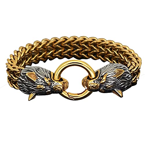 Viking Wolf Head Pulsera Hombres Mitología Nórdica, Pulsera de acero retro Titin, Pulsera Bangle Hombres Accesorios de joyería con, Pulsera Punk Pulsera de Hombre ( Color : Gold , Tamaño : 23cm )
