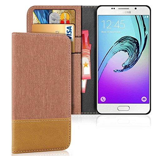e-phoria Carcasa Porta Tarjeta Compatible con Samsung Galaxy A5 (2016)   Marrón   Soporte