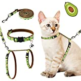 PAWCHIE Cat Harness with Leash and Collar Set - Escape Proof Adjustable H-shped Cat Vest, Soft Comfortable Strap for Cats Outdoor Walking, Avocado Pattern