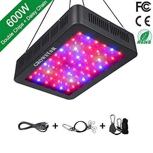 GROWSTAR 1000W LED Grow Light, 12-Band Double Chips LED Plant Light Full Spectrum with UV IR for...