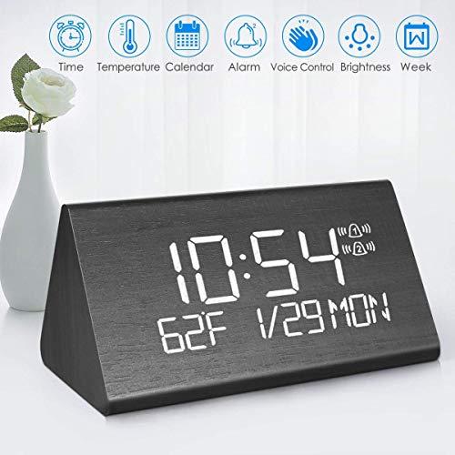 Sveglia, sveglia alimentata a batteria, sveglia sveglia, 7 luminosità regolabile, controllo vocale da scrivania, sveglia in legno, per casa/viaggio/ufficio con display LED ora/data/temperatura