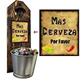 'Mas Cerveza' Wall Mounted Bottle Opener and Cap Catcher - Handcrafted by a Vet - 100% Solid Pine 3/4 inch Thick - Rustic Cast Iron Bottle Opener and Galvanized Bucket - To Empty, Twist the Bucket