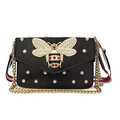 Beatful Damenmode Leder Umhängetasche, Modedesign Biene Handtasche,Damen Gürtel Schultertasche (Schwarz)
