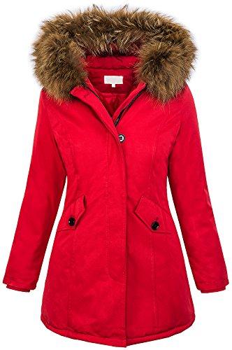 Rock Creek Selection Damen Echtfell Winter Jacke Parka Kapuze Designer Damenjacke Outdoor [D-204 - Rot - Gr. XL]