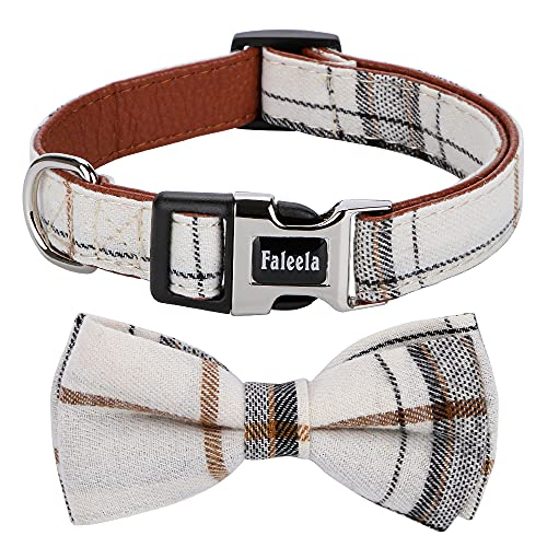Faleela Soft &Comfy Bowtie Dog Collar,Detachable and Adjustable Bow Tie Collar,for Small Medium Large Pet (M, Beige)