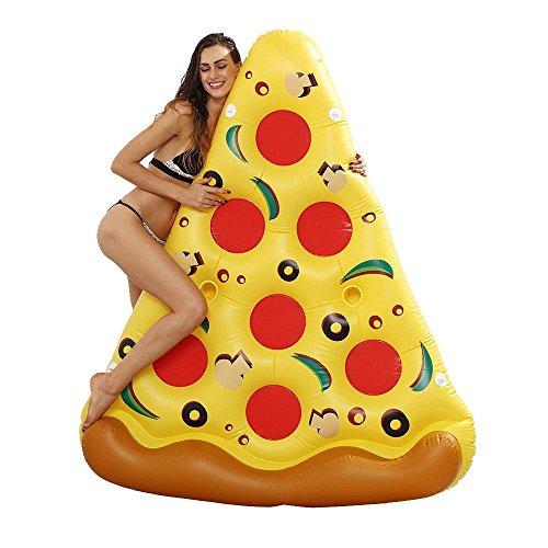 Shop-STORY - Flotador hinchable en forma de punta de pizza gigante para el mar y la piscina, 180 x 150 cm
