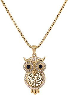 Bevilles Yellow Stainless Steel Crystal Owl Necklace Pendant