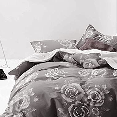 Gray Floral Duvet Cover Set, 100% Cotton Bedding, White Rose Flowers Pattern Printed on Dark Grey, with Zipper Closure (3pcs, Queen Size)
