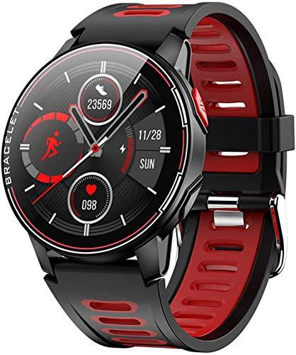 Gymqian Reloj Inteligente, Pantalla a Color de 1.3 Pulgadas, Push de Inforión, Recordatorio Sedentario, Reloj Deportivo Bluetooth Exquisito/Rojo