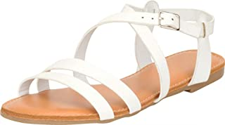 Cambridge Select Women's Crisscross Strappy Open Toe Flat Sandal