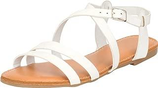 Cambridge Select Women's Crisscross Strappy Open Toe Flat Sandal