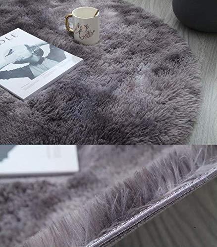 DYKK Alfombras, Alfombras para dormitorios,Felpa tie-dye lana de seda redonda simple alfombra, dormitorio, sala de estar, cama, tres (gris oscuro, 180*180)