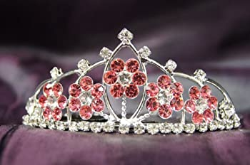 Princess Bridal Wedding Tiara Crown with Pink Crystal Flower DH15764c