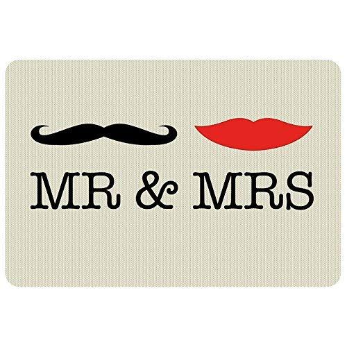 Geschenke 24, deurmat, met naam en tekst Mr & Mrs, originele deurmat met personalisatie, hipster deurmat