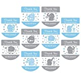 Set of 120 Baby Shower Favor Labels Mini Bottle Labels Hand Sanitizer Labels-Thank You Stickers for Baby Shower Favors(Blue)
